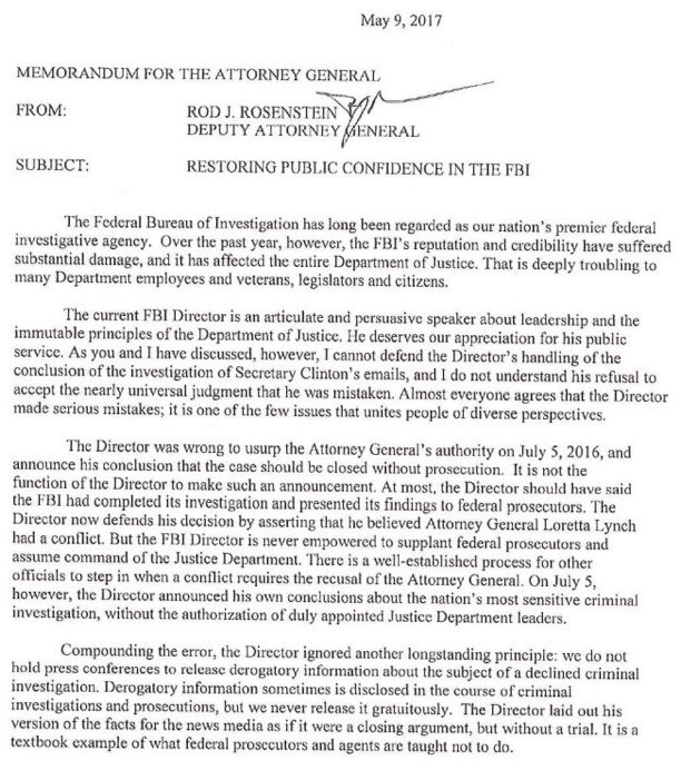 doj and white house fire fbi director comey  immediate